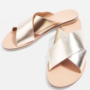 Topshop Hawaii Gold Metallic Crisscross Sandal